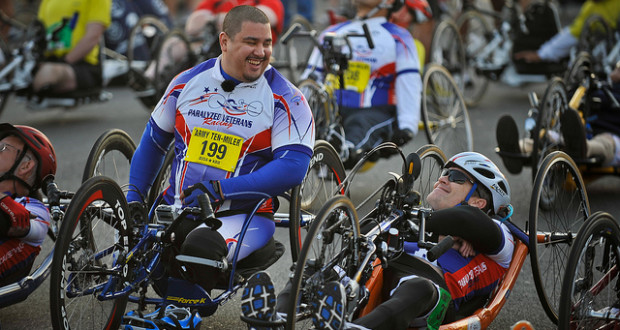 Members of the Paralyzed Veterans of America racing team participate in the 2011 Army Ten Miler with their handcycles Oct. 9, 2011 in Washington, D.C. (U.S. Army photo by Staff Sgt. Teddy Wade/Released)